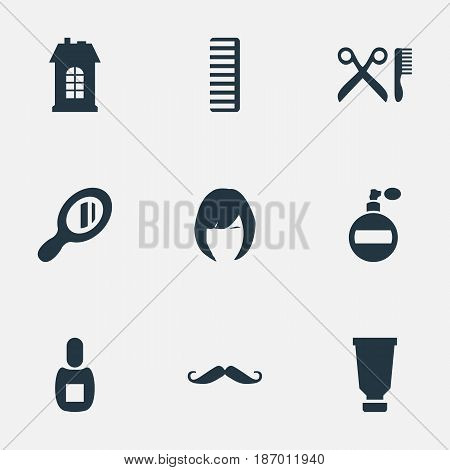 Vector Illustration Set Of Simple Hairdresser Icons. Elements Reflector, Whiskers, Premises And Other Synonyms Mirror, Hair And Comb.