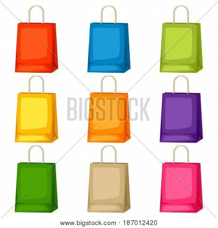 Colored shopping bags templates. Set of promotional gifts and souvenirs.