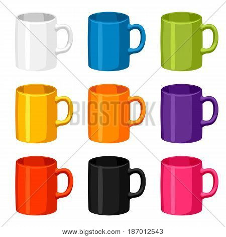 Colored mugs templates. Set of promotional gifts and souvenirs.
