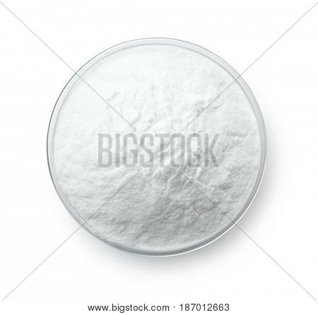 Top view of baking soda bowl isolated on white