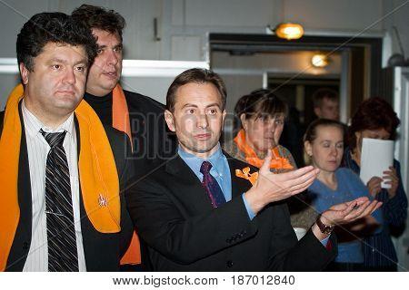 Kiev - November 16: Petro Poroshenko, Mykola Tomenko and other members of the Nasha Ukraina party at the televised debate between Yushchenko and Yanukovych, presidential elections on November 16, 2004 in Kiev, Ukraine.