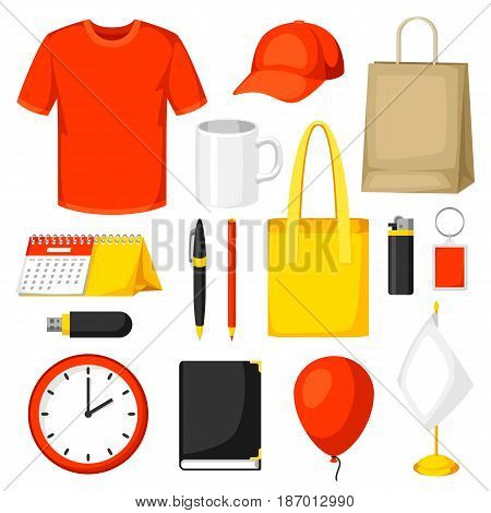 Set of promotional gifts and advertising souvenirs.
