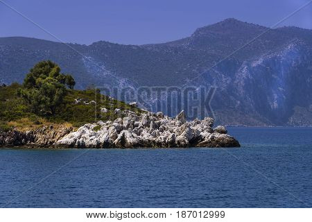 Shores of the islands in the Aegean Sea