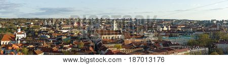 Vilnius Lithuania - April 30 2017: Panoramic View Of Old Town In Evening. View From The Hill Of Upper Castle
