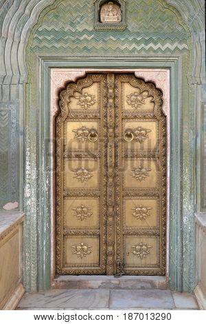 JAIPUR, INDIA - FEBRUARY 16: Ornate door at the Chandra Mahal, Jaipur City Palace in Jaipur, Rajasthan, India, on February 16, 2016.