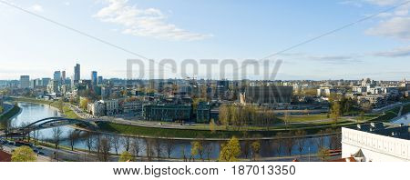Vilnius Lithuania - April 30 2017: Panorama of Vilnius on sunset. View to modern part of Vilnius capital of Lithuania