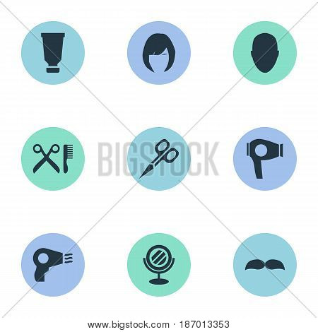 Vector Illustration Set Of Simple Hairdresser Icons. Elements Blow Dryer, Barber Tools, Cut Tool And Other Synonyms Mirror, Glass And Clipper.