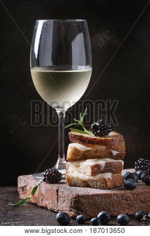 Grilled sandwich with melted goat cheese, blackberry, blueberry, rosemary and honey, served on terracotta board with glass of cold white wine over dark background. Summer appetizer.