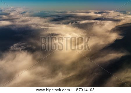 Aerial Shot of Sky. Background with Clouds.