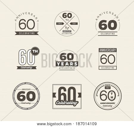 60 years anniversary logo set. Vector illustration.