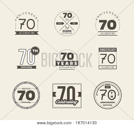70 years anniversary logo set. Vector illustration.