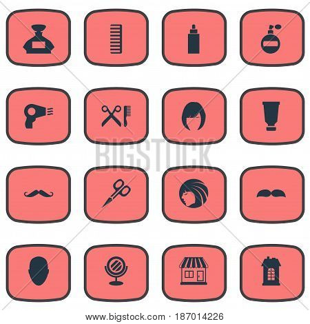 Vector Illustration Set Of Simple Barber Icons. Elements Aroma, Peeper, Blow Dryer And Other Synonyms Hackle, Supermarket And Head.