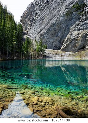 Emerald Grassi Lake in the Rocky Mountains
