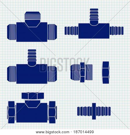 Pipe  Fitting. Brass fitting with Threaded. Icon. Vector illustration on Notebook sheet texture background