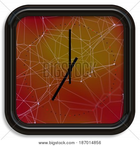 Square Wall Clock With Red Plexuss Background.