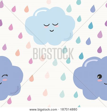 Hand drawn seamless pattern background with colorful watercolor drops and clouds. For kids. Kawaii design. Vector