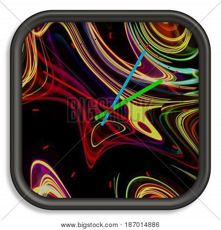 Square Wall Clock With Flowing Lines Background.