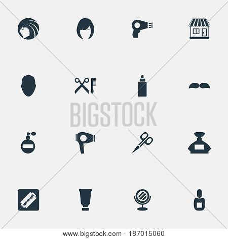 Vector Illustration Set Of Simple Beautician Icons. Elements Peeper, Blow Dryer, Cut Tool And Other Synonyms Beautiful, Man And Tool.