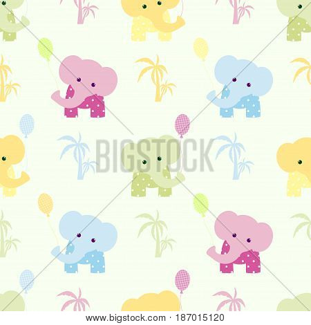 Cute seamless pattern elephant, africa, india, balloon, cartoon, background,