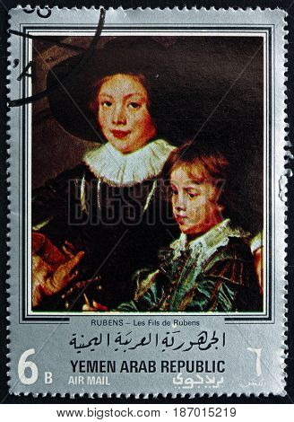 YEMEN - CIRCA 1968: a stamp printed in the Yemen Arab Republic shows the Sons of Rubens Painting by Rubens Flemish Painter circa 1968