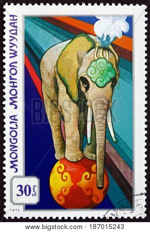 MONGOLIA - CIRCA 1974: a stamp printed in Mongolia shows Trained Elephant Mongolian Circus circa 1982
