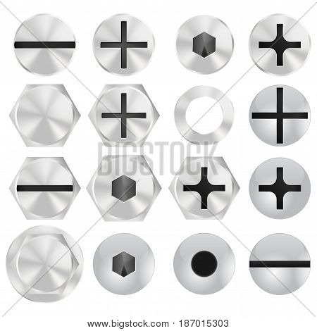 Screw head. Vector illustration isolated on white background.