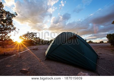 Tent in the camping of Canyonlands National park in Utah USA