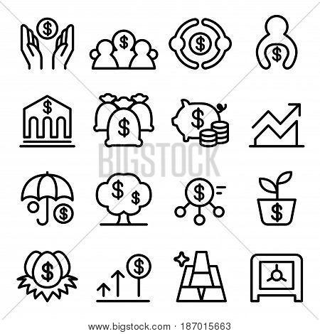 Saving money icon set in thin line style Vector illustration Graphic design