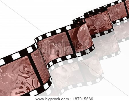 Film roll with sepia pictures (communication) on white background 3D illustration.