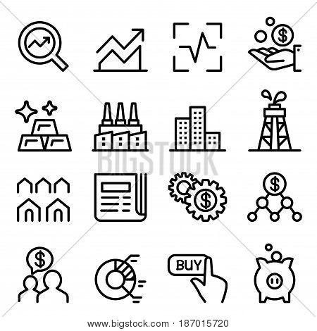 Stock market & Stock Exchange icon set in thin line style Vector illustration Graphic design