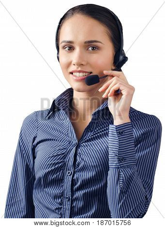 Call center woman female friendly caucasian talking on headset helpdesk