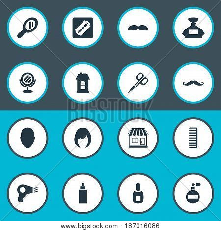 Vector Illustration Set Of Simple Hairdresser Icons. Elements Blow Dryer, Container, Reflector And Other Synonyms Flask, Container And Whiskers.