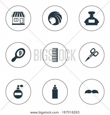 Vector Illustration Set Of Simple Hairdresser Icons. Elements Reflector, Beard, Scent And Other Synonyms Scissors, Store And Girl.