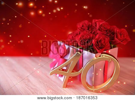 birthday concept with red roses in the gift on wooden desk. 3D render - fortieth birthday. 40th