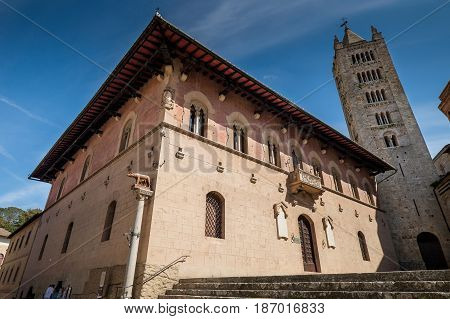 MASSA MARITTIMA ITALY - May 14 2017: Tuscany the Duomo Squadre at Saint Cerbone Cathedral medieval town of Massa Marittima in Italy