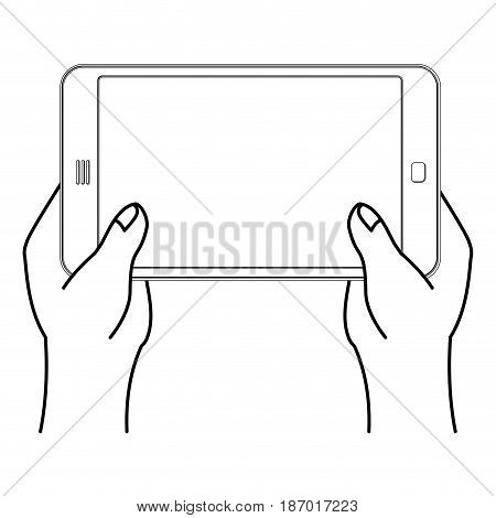 Two Hand And Tablet Smartphone. Man Is Holding Mobile Phone. Technological Template