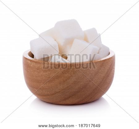 Closeup sugar cube on white background. food