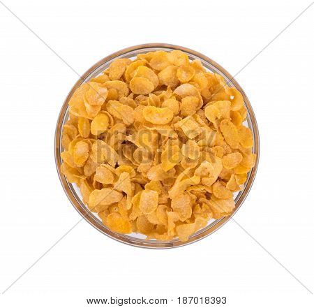Corn flakes in bolw isolated on white background