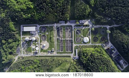 Sewage Treatment Plant From The Bird's Eye View