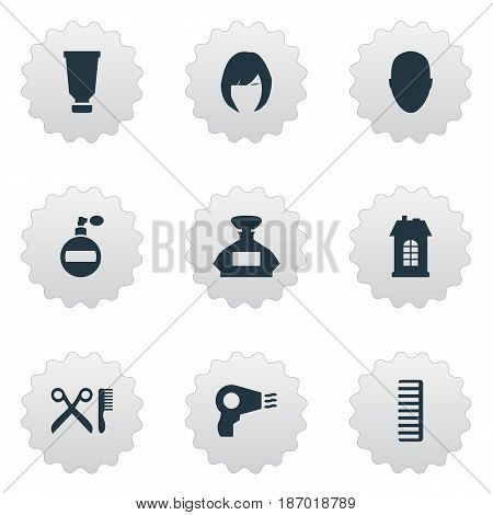 Vector Illustration Set Of Simple Beautician Icons. Elements Barber Tools, Premises, Human And Other Synonyms Container, Head And Smell.