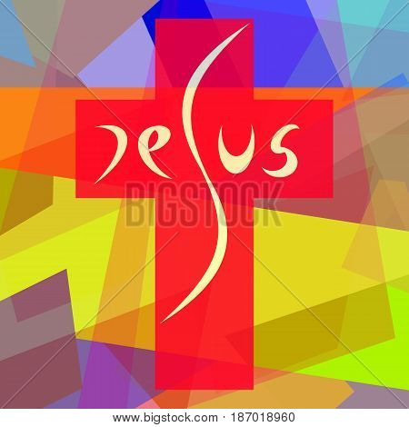 Jesus on the cross, abstract colorful illustration in cubism