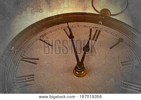 Retro clock with five minutes before twelve