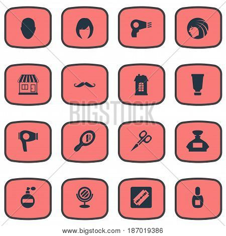 Vector Illustration Set Of Simple Barber Icons. Elements Hair, Bottle, Supermarket And Other Synonyms Scent, Whiskers And Flask.