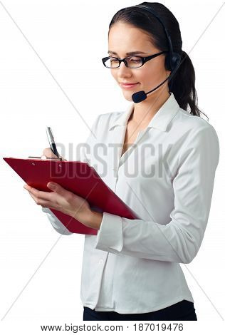 Call center woman friendly talking on headset helpdesk customer service telemarketing