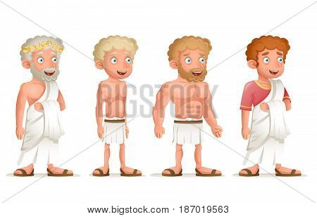 Roman Greek Retro Vintage Old Young Toga Loincloth Characters Icon Set Cartoon Vector Design Illustration