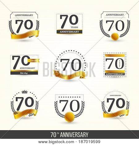 70th anniversary logo set with golden elements. Vector illustration.