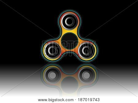 Fidget spinner icon - toy for stress relief and improvement of attention span. Filled with yellow and black color. Isolated vector illustration.