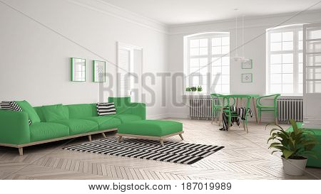 Bright minimalist living room with sofa and dining table scandinavian white and green interior design, 3d illustration