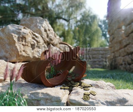 ancient gold coins treasure on ancient ruins concept background