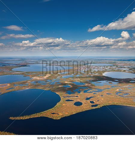 Endless marshes of West Siberia in spring from above